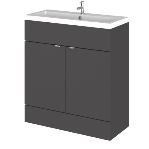 Elite Grey Gloss 800mm Vanity Unit & Basin (355mm Deep)